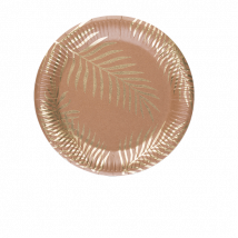 Assiette carton palmier kraft x8
