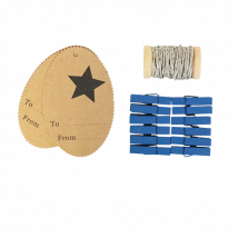Set etiquettes cadeau + pinces bleu