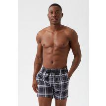 Men'S Check Swim Shorts - Black - M