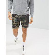ASOS Chino Shorts With Camo Print - Green