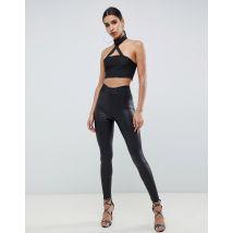 ASOS DESIGN leather look leggings with elastic slim waist - Black