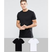 ASOS DESIGN 2 pack longline t-shirt in black/white with crew neck save - Multi