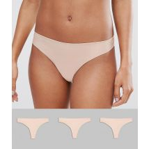 ASOS DESIGN - Set van 3 naadloze strings - Beige