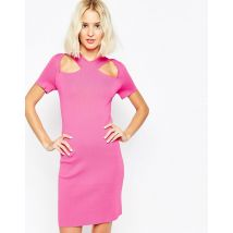ASOS Dress with Cut Out Detail And Zip Back In Structured Knit - Pink