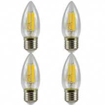 4 Pack E27 Screw LED 4W Filament Candle Bulb (40W Equivalent) 470 Lumen - Warm White Clear