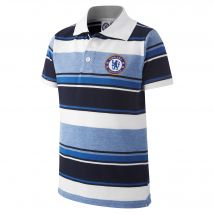 Chelsea Thin Striped Polo Shirt - White/Navy/Royal - Older Boys