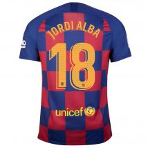Barcelona Home Stadium Shirt 2019-20 with Jordi Alba 18 printing