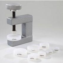 Glas- u. Bodeneinsetzzwinge mit 8 Einsätzen für Uhren mit Glattglas