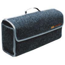 Kofferraumtasche grau mit praktischem Tragegriff.