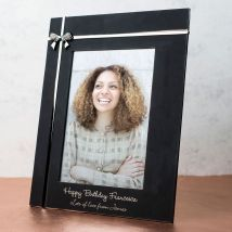 Personalised Black Photo Frame With Crystal Bow
