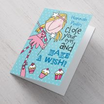 Personalised Card - Make a Wish (Blue)