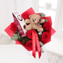 Personalised Red Rose Bouquet With Teddy & Chocolates