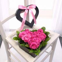 Pink Rose Heart Hat Box