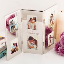 Personalised Triple Folding Silver Photo Frame