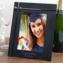 Personalised Black Photo Frame With Crystal Bow - Congratulations