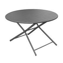 Table de jardin pliante ronde en aluminium gris 6 personnes - Globe