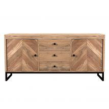 Buffet 2 portes 3 tiroirs en bois d'acacia et pieds en métal - Agata