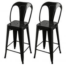 Chaise de bar industrielle en métal noire 66cm (lot de 2) - Indus