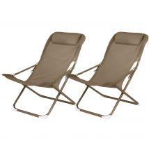Chaise longue camping café en métal et tissu avec appui-tête (lot de 2) - Talanga
