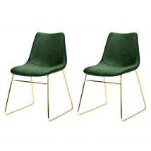 Chaise en velours vert foncé pieds traîneaux dorés (lot de 2) - Gaspard