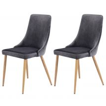 Chaise grise en velours (lot de 2) - Vinni