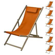 Chaise longue orange et châssis taupe (lot de 6) - Calvi