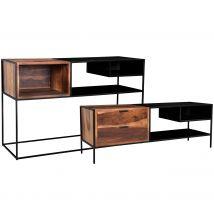 Ensemble console et meuble TV en bois massif et métal noir - Devdas