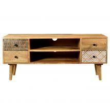 Meuble TV en bois 2 niches 4 tiroirs à motifs - Tali