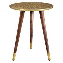 Table basse éthnique trépied et bois et métal doré travaillé - Sahru