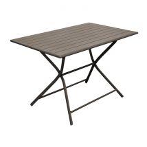 Table de jardin rectangulaire pliante en aluminium café 4 personnes - Globe