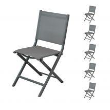 Chaise de jardin gris foncé pliante en toile et aluminium (lot de 6) - Terra
