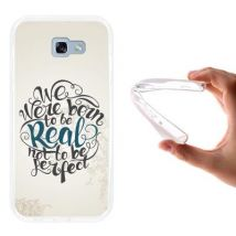 Funda Samsung Galaxy A7 2017 Silicona Gel Flexible Woowcase Frase - We Were Born To Be Real Not To Be Perfect 2 - Transparente