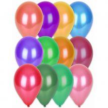 100 ballons coloris métalliques, 29cm (Assortiment multicolore)