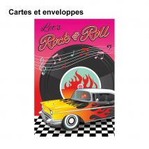 Décorations de table rock n roll, Anniversaire (8 cartes et enveloppes)