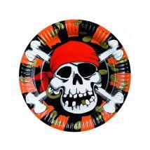 Décorations pirate tête de mort pour anniversaire (8 assiettes)