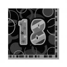 Serviettes âge bleues, noires ou roses (18ans noir)