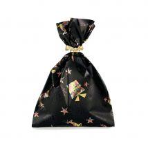 Sachet cadeau avec motifs festifs de Noël (Noir 35x50cm)