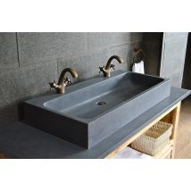 1000mm Double Trough Basin Granite Stone Bathroom Sink - LOOAN