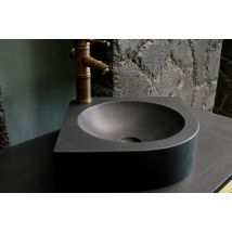 340mm Round Black Granite Wash Hand Basin Sink SAMOA SHADOW