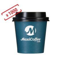 MaxiCoffee - Lot de 1000 Gobelets MaxiCoffee 12 cl + Couvercles Noirs - Gob Maxicoffee.com 4oz