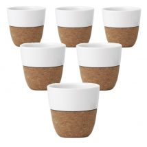 Set of 6 x 200ml LAUREN porcelain and cork cups by VIVA Scandinavia - 20.0000 cl