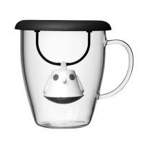 400ml glass mug + black Birdie tea infuser with lid by QDO - 40.0000 cl