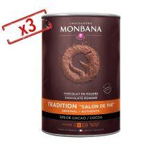 Lot de 3 boîtes Chocolat en poudre Salon de Thé 3x1kg - Monbana - 3000.0000 g