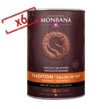 Lot de 6 boîtes de Chocolat en poudre Salon de Thé 6x1kg - Monbana - 6000.0000 g