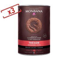 Lot de 3 boîtes Chocolat en poudre trésor de chocolat 3x1kg - Monbana - 3000.0000 g