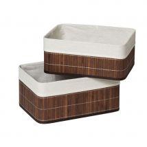 Premier Housewares Kankyo Bamboo Storage Boxes Set of 2 - Dark Brown