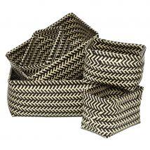 Premier Housewares Set of 5 Woven Storage Baskets - Black/White