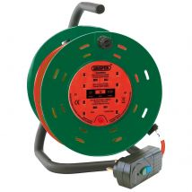 Draper Four Socket Garden Cable Reel and RCD Adaptor 25m