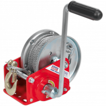 Sealey Hardened Steel Geared Hand Winch with Automatic Brake and Cable 900Kg