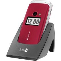 Primo by DORO 413 Big button flip top mobile phone Charging station, Panic button Red